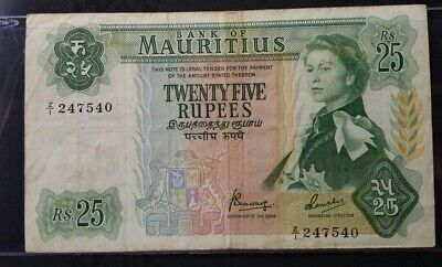 Mauritius Twenty Five 25 Rupees, 1967 Z/1 replacement, star note RARE VF clean!!