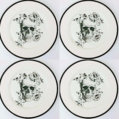 """💀Ciroa Wicked Skull with Roses Dinner Plates 10.5"""" 💀Halloween 🌟Set Of 4🌟"""