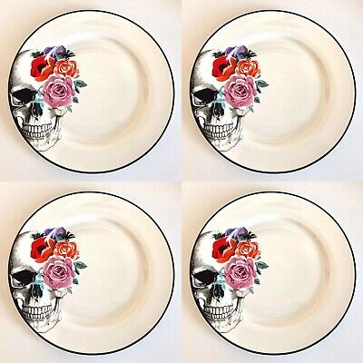 """💀Ciroa Wicked Skull with Roses 🌹Dinner Plates 10.5"""" 💀Halloween 🌟Set Of 4🌟"""