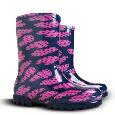 Pink Hearts Kids, Girls Wellies, Wellington Rainy Boots Snow All Sizes