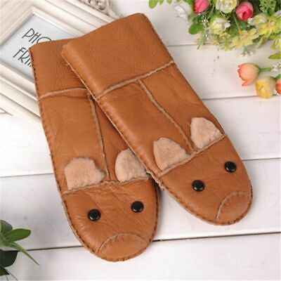 Fur Genuine Leather Winter Gloves For Children High Graded Quality Hand-Wear New
