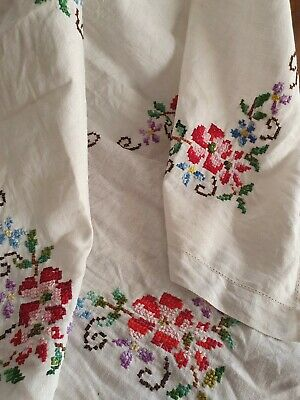 Vintage Linen Semco Hand Embroidered Cross Stitch Tablecloth/ Suppercloth