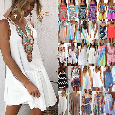 Womens Beach Swimwear Bikini Beach Wear Cover Up Kaftan Ladies Summer Mini Dress