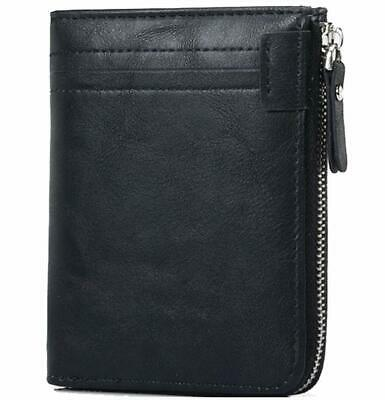 Coiol RFID Blocking Mens Leather Wallets Zip Around Bifold Card Purse