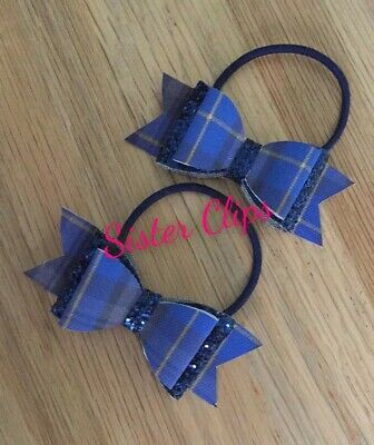 "Back to school 2 blue tartan gingham & navy glitter 2.5"" Hair Bow bobbles"