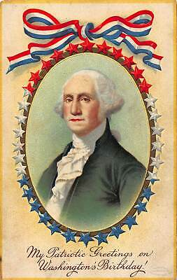 My Patriotic Greetings on Washington's Birthday Embossed Postcard