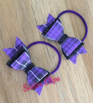 "School 2 purple tartan gingham & black glitter 2.5"" Hair Bow bobbles"