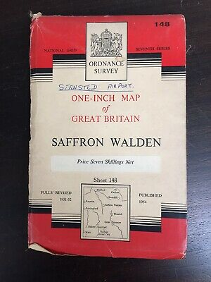 1954 Vintage Ordnance Survey Map 148 Saffron Walden (cloth)