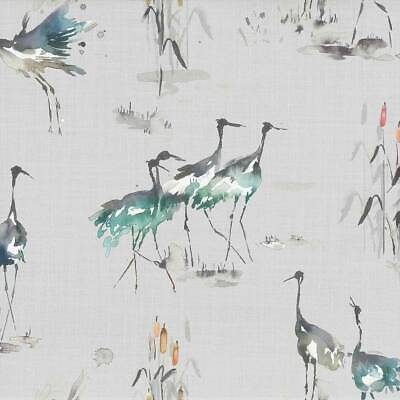 REMNANT SALE -  NEW 1.2 mtrs Voyage Decoration Cranes Linen Cobalt fabric.