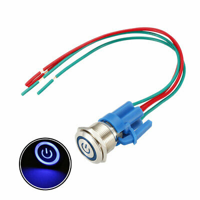 Momentary  Push Button Switch 19mm Mounting 1NO 12V Blue LED with Socket Plug