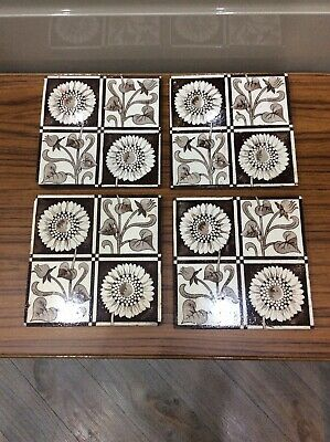 "Vintage ,antique Ceramic Tiles X 4 , 6 "" Square"