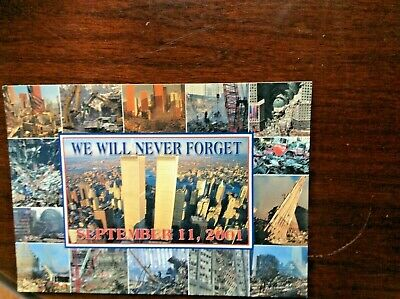 """Vintage Large 9/11 World Trade Cent Postcard 2001 We Will Never Forget 7"""" X 5.5"""""""