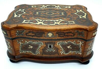 19th Century Silver & Bone Inlay Rosewood Jewellery Casket | Key | Victorian