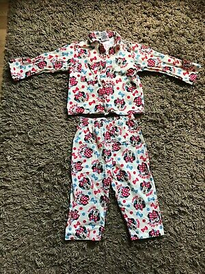 Disney Minnie Mouse Girls Kids Pyjamas (White) Ages 2-3 Years