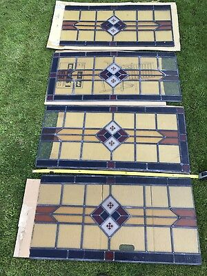 Stained Glass 4 large stunning coloured glass window panes Antique Vintage