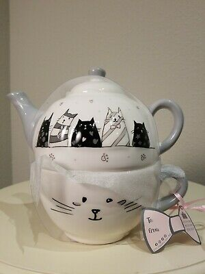 Whimsical Cupboard 10 Strawberry Street Cat Teapot And Mug