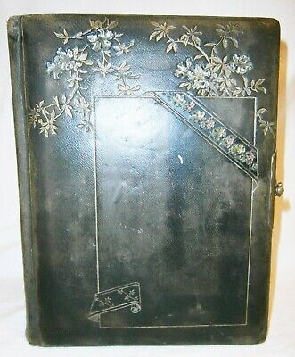 Huge Victorian Leather, Brass & Gilt Photo Display Book 'Bible'