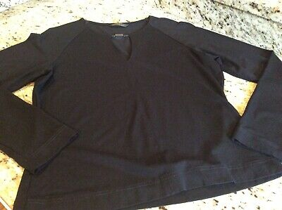 St. Michael from Marks & Spencer Black Long Sleeve Knit Top Keyhole Sz UK 12