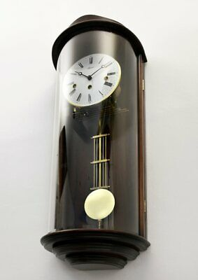 Gorgeous HERMLE Pendulum Westminster Chime Wall Clock with Unusual Curved Glass