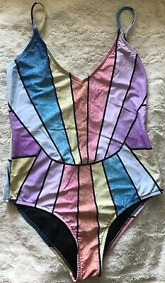 Rip Curl One Piece Bathing Suit Swimsuit Multi Color Print Strappy Back