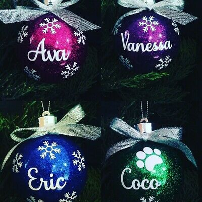 Personalised Name Christmas Baubles Glitter