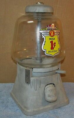 Vtg SILVER KING 1 Cent/Penny Gumball/Candy Machine Coin Operated J357