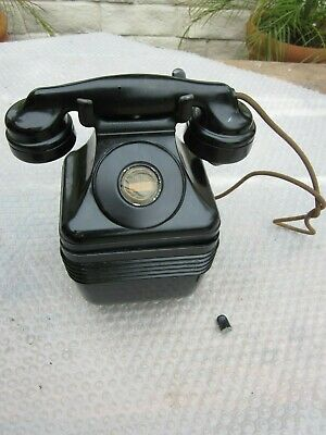 Antique Vintage Mono. Bakelite Telephone for Parts, Leigh Receiver, Candlestick