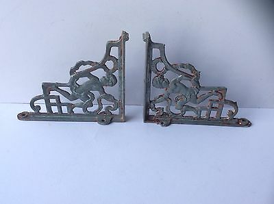 Pair of Antique Cast Iron Shelf Brackets with Cherub Design with Reg. Number