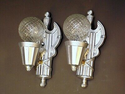 PAIR Vintage 30s Art Deco Silver Cast Metal Wall Mount Light Sconces REWIRED