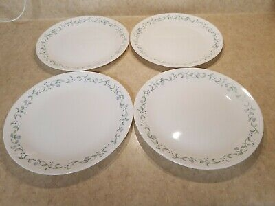 """Set of 4 Corelle Country Cottage Dinner Plates 10 1/4"""" Hearts and Vines Design"""