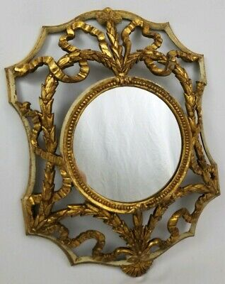 Vintage Hollywood Regency Ornate Gold Brass Tole Wall Mirror Italy 19-1/4""
