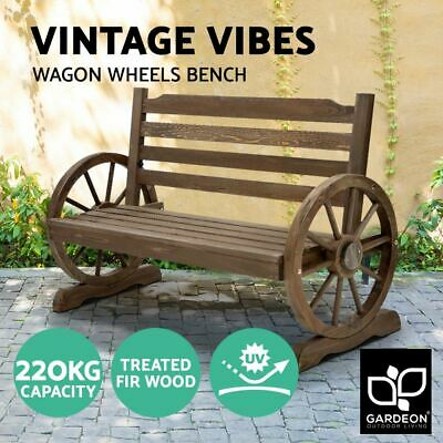 2-Seater Wagon Wheels Bench Rustic Look Backyard Seat Wooden Park Furniture