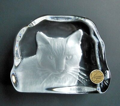 CAT PAPERWEIGHT CRISTAL d'ARQUES Lead Crystal Glass Made in France
