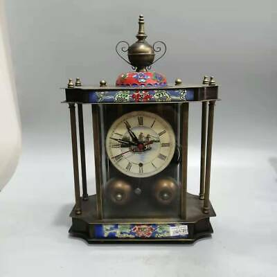 European Cloisonne Brass Handmade Birdcage Shape Mechanical Clock OSB19