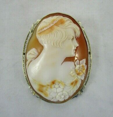 "Antique 14k White Gold Large 2.5"" Flapper Girl Carved Shell Cameo Brooch Pendant"