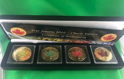 Canada Silver Maple Leaf x 4 Four Seasons 2016 Classic Edition Gold Plate colour