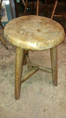 Antique Chinese Asian Hand Made 3 Leg Stool - Elm Wood - So Nice