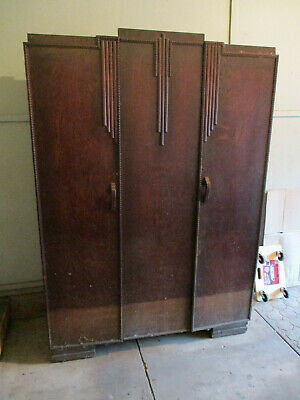 ART DECO style large Trittons wardrobe, 2 doors orignal locks+keys one owner