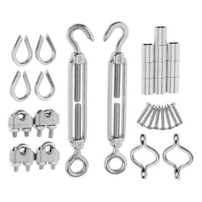 Stainless Steel 2Pcs Turnbuckle M5 Wire Cord Cable Clip M3 Kit Hardware