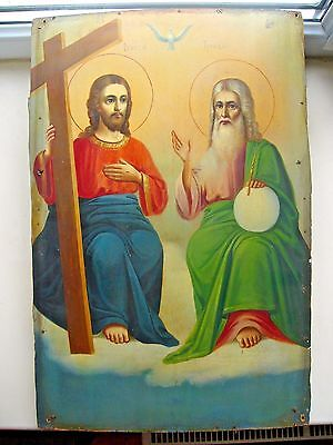 """Antique 19c Russian Orthodox Hand Painted Wood Icon """"The Holy Trinity"""""""