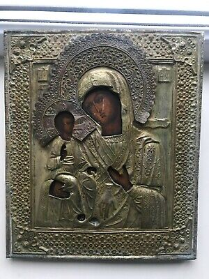 "Antique 19c Russian Hand Painted Wood Icon ""Three-Handed Mother of God"""