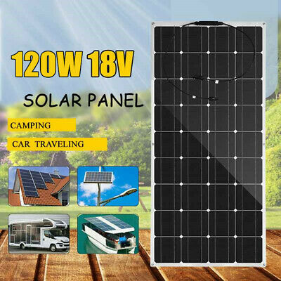 Flexible 120W 18V Mono Solar Panel Cell for 12V Car/RV/Boat/Home/Roof/Camping