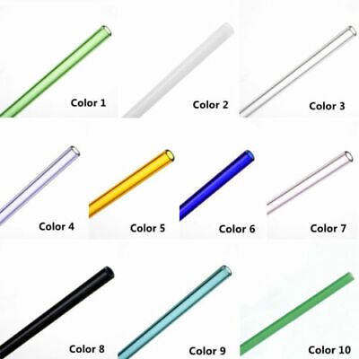 1pc New Simple Birthday Reusable Straight Drinking Straw Pyrex Glass Pure Color