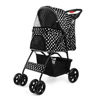 Pet Stroller Dog Cat Small Animals Carrier Cage 4 Wheels Jogging Travel Foldable