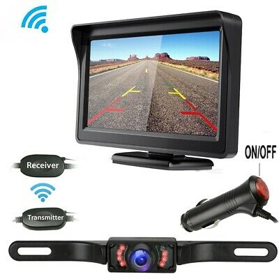"Wireless Car Backup Camera Rear View System Night Vision + 4.3"" TFT LCD Monitor"