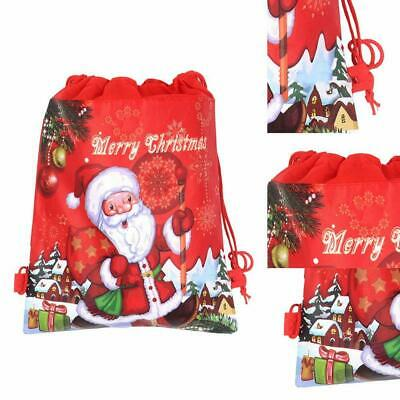 1Pcs Non-woven Christmas Santa Claus Strings Drawstring Xmas Gift Red Bags