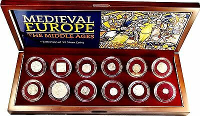 Medieval Europe:The Middle Ages A Collection of 12 Silver Coins In Wood Box