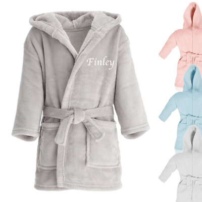Personalised Name Children's Dressing Gown Boys Girls Nightwear Gifts