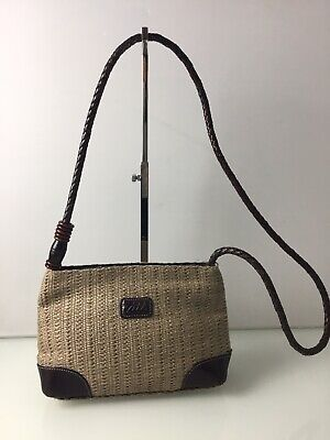 Tula Raffia Cross Body Bag In Beige With Brown Leather Detail And Strap. VGC