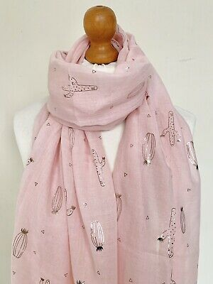 Cactus metallic foil print scarf Valentines gift new design pink or grey colour